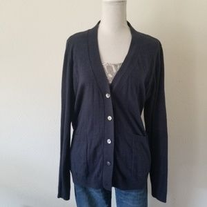 Margaret O'Leary Navy Blue Cotton Cardigan L  340